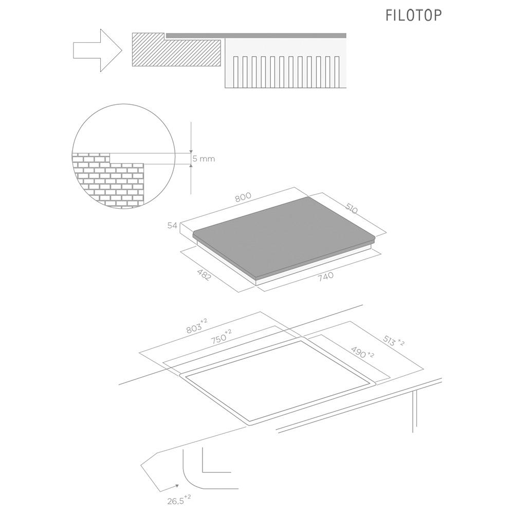 ELICA DIAMOND 805WH Piano Induzione / Bianco STOREINCASSO