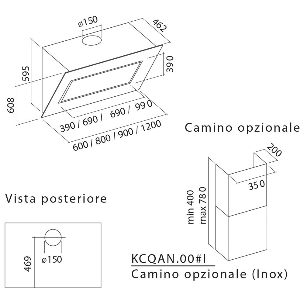 falmec quasar vw 90 cappa parete cr bianco storeincasso. Black Bedroom Furniture Sets. Home Design Ideas